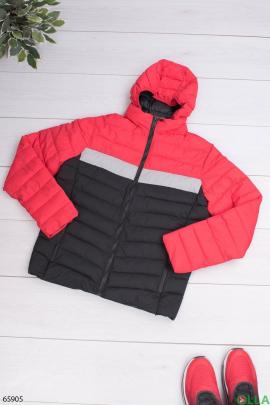 Мужская красно-черная куртка с капюшоном