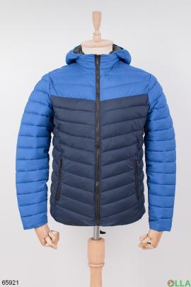 Мужская темно-синяя куртка с капюшоном