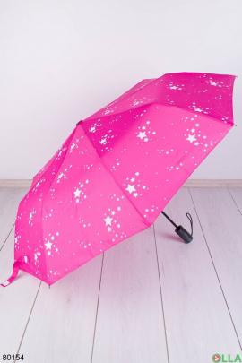 Женский розовый зонт со звездами