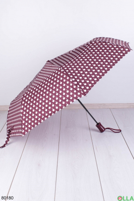 Женский бордово-белый зонт в горох