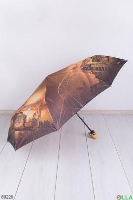 Женский коричневый зонт