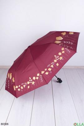 Женский бордовый зонт