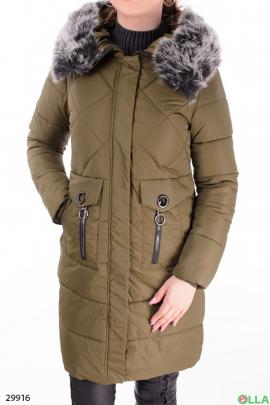 Женская куртка цвета хаки