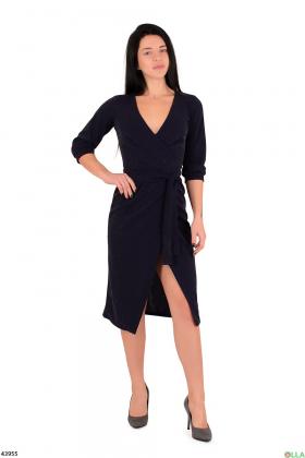 Платье синего цвета с люрексом