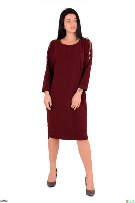 Платье бордового цвета с люрексом