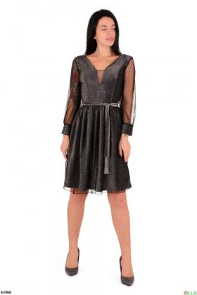 Черное платье с люрексом
