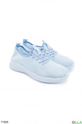 Женские голубые кроссовки на шнуровке