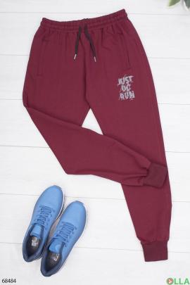 Мужские бордовые спортивные брюки