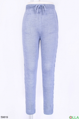 Женские голубые брюки на резинке