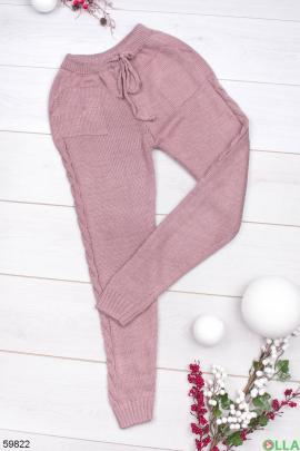 Женские розовые брюки на резинке
