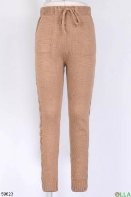 Женские коричневые брюки на резинке