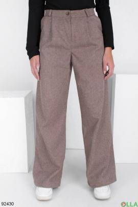 Женские коричневые брюки-клёш