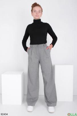 Женские серые брюки-клёш