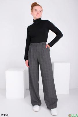 Женские темно-серые брюки-клёш