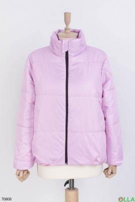 Женская лиловая куртка без капюшона