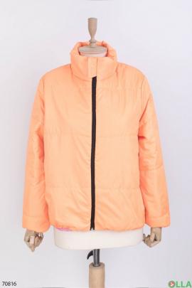 Женская оранжевая куртка без капюшона