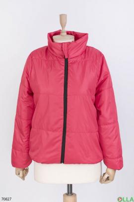 Женская красная куртка без капюшона