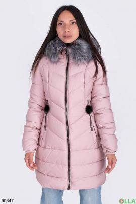 Женская светло-розовая куртка с капюшоном