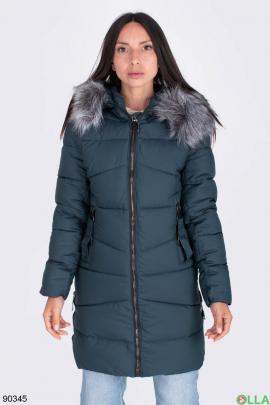 Женская темно-бирюзовая куртка с капюшоном