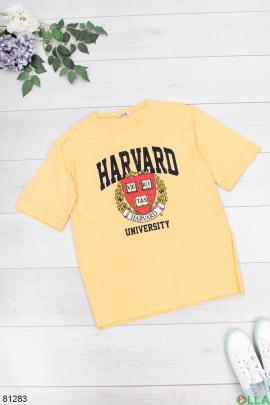 Женская желтая футболка с рисунком