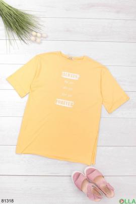 Женская желтая футболка с надписью