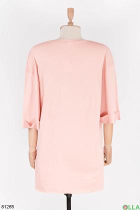 Женская розовая футболка с надписью