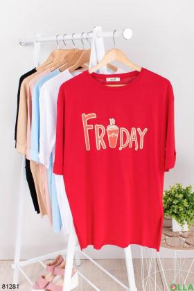 Женская красная футболка с надписью