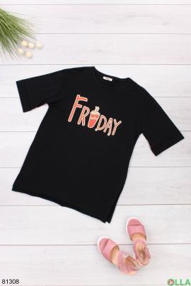 Женская черная футболка с надписью