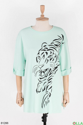 Женская бирюзовая футболка с рисунком