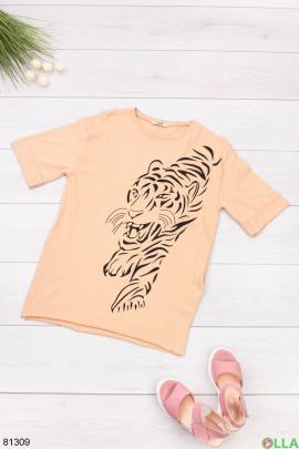 Женская бежевая футболка с рисунком