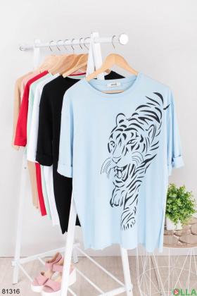 Женская голубая футболка с рисунком
