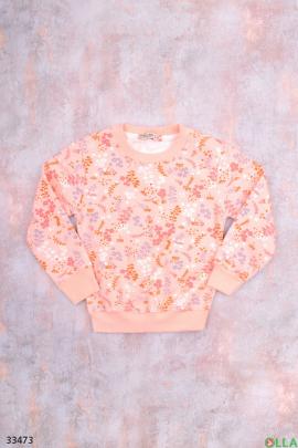 Розовый свитшот с принтом