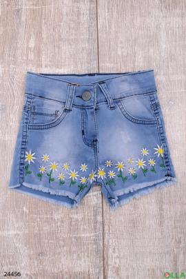 Джинсовые шорты с цветочной вышивкий