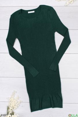 Женское зеленое трикотажное платье-миди