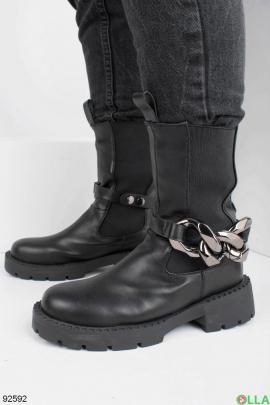 Женские черные ботинки без застежки