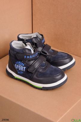 Ботинки синего цвета на липучках