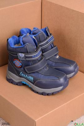 Синие ботинки на липучках