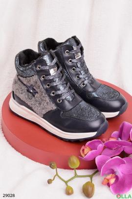 Ботинки на шнуровке, с напылением