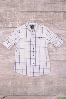 Белая рубашка  в клеточку