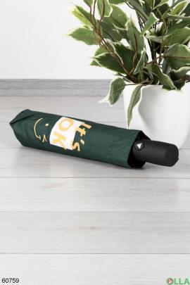Женский зеленый зонт с надписью