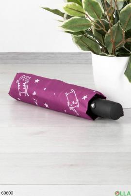 Женский Фиолетовый зонт с рисунком