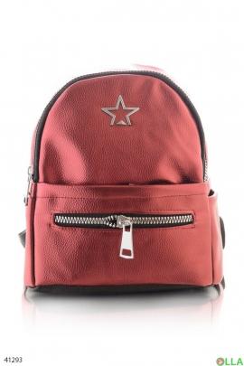 Красный женский рюкзак