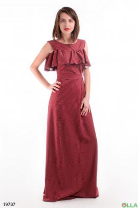 Женское платье в пол с оборкой
