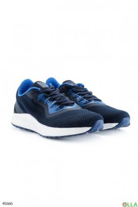Мужские синие кроссовки с верхом из текстиля