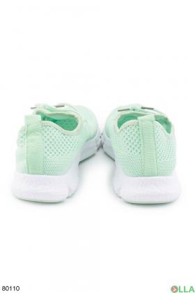 Женские бирюзовые кроссовки на шнуровке