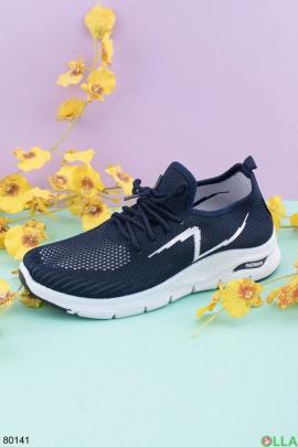 Женские темно-синие кроссовки на шнуровке