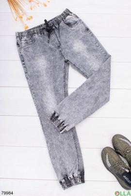 Мужские серые джинсы на резинке