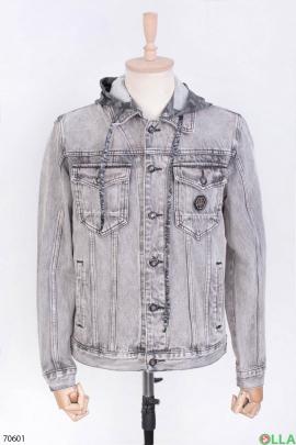 Мужская серая джинсовая куртка с капюшоном