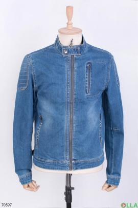 Мужская синияя джинсовая куртка