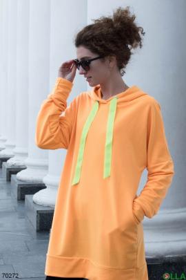 Женское худи-платье оранжевого цвета